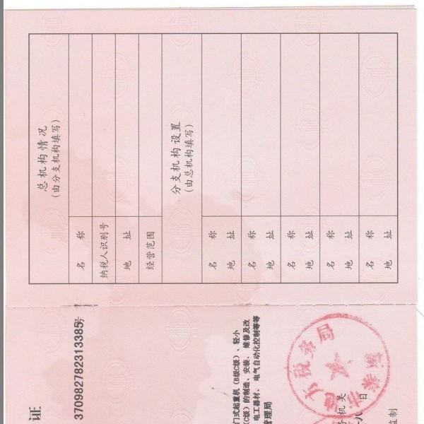 增值税一般纳税人资格证书,泰税NO:3709